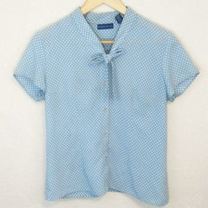 Blue White Polka Dot Bow Tie Button Up Shirt Top